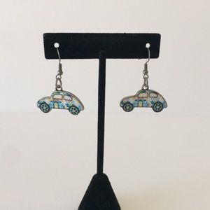 Mere's Fashion Musings Jewelry - NEW Groovy Print Herbie Car VW Bug Earrings